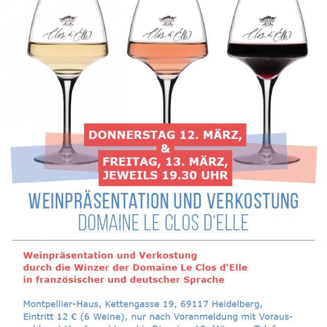 Weinpräsentation und Verkostung Domaine le Clos d'Elle